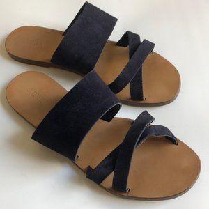 J. Crew Bali Slides- Navy Leather Suede